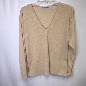 ZARA Dusty Pink Ribbed V-Neck Sweater